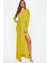 9091e51bef Missguided - Chartreuse Slinky Cut Out Maxi Dress - Lyst