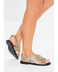 cf3b566947ffed Missguided - Nude Snake Cross Over Sandals - Lyst