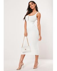 Missguided - White Popper Ribbed Knitted Midaxi Dress - Lyst