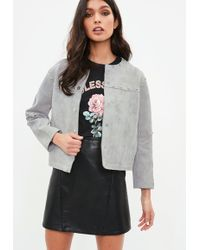 Missguided - Gray Studded Collarless Faux Suede Jacket - Lyst