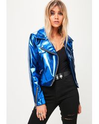 Missguided - Blue Metallic Biker Jacket - Lyst