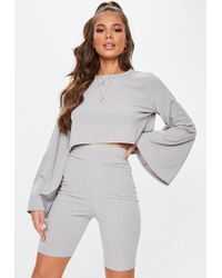 Missguided - Grey Ribbed Cycling Shorts - Lyst