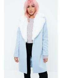 Missguided - Blue Extreme Faux Fur Collar Wool Coat - Lyst