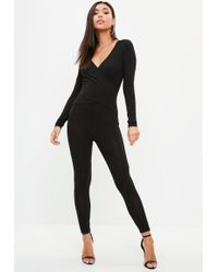 Missguided - Black Ribbed Wrap Detail Jumpsuit - Lyst