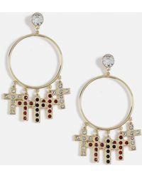 Missguided - Gold Look Cross Drop Diamante Top Hoop Earrings - Lyst