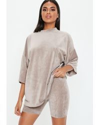 Missguided - Grey Velour Cycling Shorts - Lyst