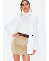 1ee5be403 Lyst - Missguided Abi Curve Hem Faux Leather Mini Skirt Camel in Natural