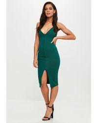 Missguided - Green Scuba Midi Dress - Lyst