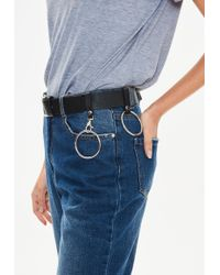 Missguided - Black Hanging Ring Detail Belt - Lyst