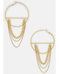Missguided - Gold Chain Bar Hoop Earrings - Lyst