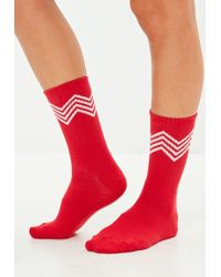Missguided - 3 Pack Red Zig Zag Socks - Lyst