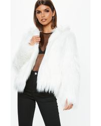 Missguided - White Shaggy Hooded Coat - Lyst