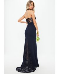 Missguided - Bridesmaid Navy Halterneck Lace Insert Fishtail Dress - Lyst