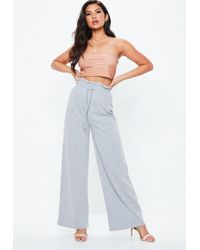 Missguided - Gray Paperbag Waist Loopback Joggers - Lyst