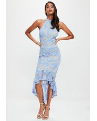 Missguided - Blue Corded Lace Fishtail High Neck Dress - Lyst
