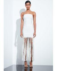 Missguided - Peace + Love White Bandage Fringe Midi Dress - Lyst