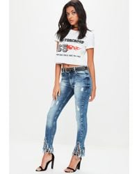 Missguided - Blue Anarchy Mid Rise Skinny Jeans - Lyst