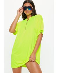 Missguided - Neon Yellow Oversized Zip Front T-shirt Dress - Lyst