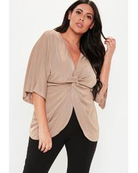 e5722203f15df Missguided Nude Slinky Long Sleeve Plunge Crop Top - Lyst