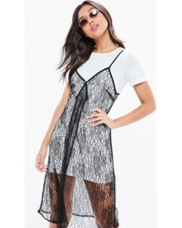 Missguided - White Monochrome Lace 2 In 1 Shift Dress - Lyst