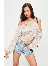 Missguided - Nude One Shoulder Tie Sleeve Top - Lyst