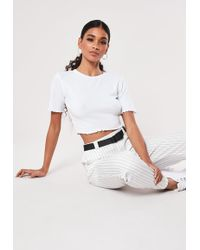 75fac1e4fe4be Lyst - Missguided Telimesa White Bardot Lace Crop Top in White