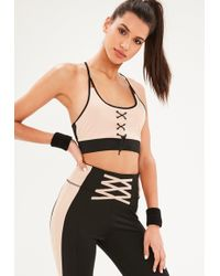 Missguided - Active Blush Toggle Sports Bra - Lyst