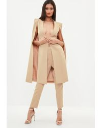 929005cdd Missguided Cold Shoulder Longline Blazer Nude in Natural - Lyst