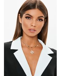 Missguided - Gold Look Coin Diamante Detail Choker Necklace - Lyst