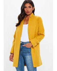 Missguided - Mustard Inverted Collar Formal Coat - Lyst