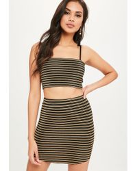 Missguided - Gold Metallic Striped Bralette - Lyst
