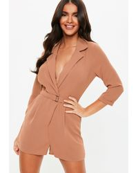 Missguided Grey Wrap Blazer Playsuit In Gray Lyst
