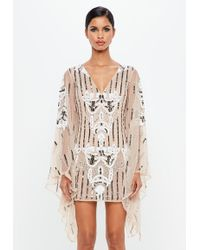 Missguided - Peace + Love Nude Kimono Sleeve Embellished Plunge Dress - Lyst