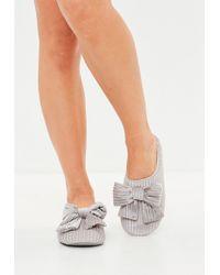 Missguided - Grey Velvet Ribbed Bow Slide Slippers - Lyst