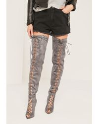 Missguided   Grey Lace Up Thigh High Gladiator Boots   Lyst