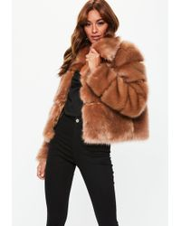 Missguided - Camel Premium Cropped Faux Fur Jacket - Lyst