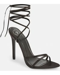 3e8a9419c49 Missguided - Black Pointed Toe Lace Up Barely There Heels - Lyst