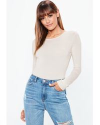 Missguided - Mocha Long Sleeved Crew Neck Bodysuit - Lyst