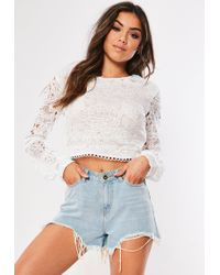 54b7e75f245 Lyst - Missguided Velvet Front Lace Crop Top Navy in Blue