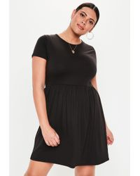 Missguided Plus Size Jersey T-shirt Skater Dress Black in Black - Lyst 47a092b53