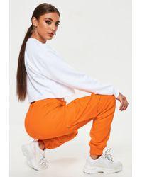 Missguided - Orange Plain Cargo Trousers - Lyst