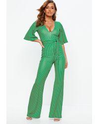 aae5ee678cd Missguided - Green Stripe Plunge Kimono Stripe Sleeve Jumpsuit - Lyst