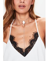 Missguided - Silver Drop Pendant Necklace - Lyst