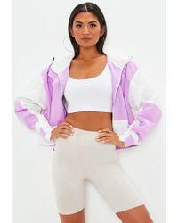 Missguided - Lilac Oversized Colour Block Windbreaker Jacket - Lyst