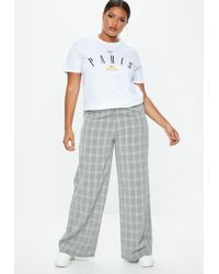 Missguided - Plus Size Gray High Waisted Pants - Lyst