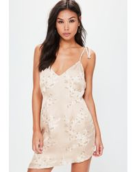 Missguided - Nude Tie Strappy Printed Shift Dress - Lyst