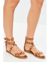 Missguided - Camel Studded Gladiator Sandals - Lyst