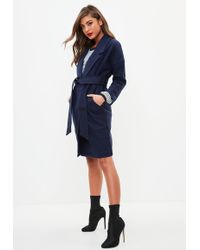 Missguided - Navy Over Sized Longline Coat - Lyst