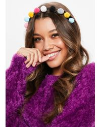 Missguided - Multicolour Festival Pom Pom Headband - Lyst