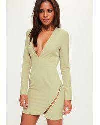 Missguided - Green Plunge Long Sleeve Button Bodycon Dress - Lyst